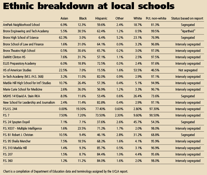 Ethnic breakdown at local schools.
