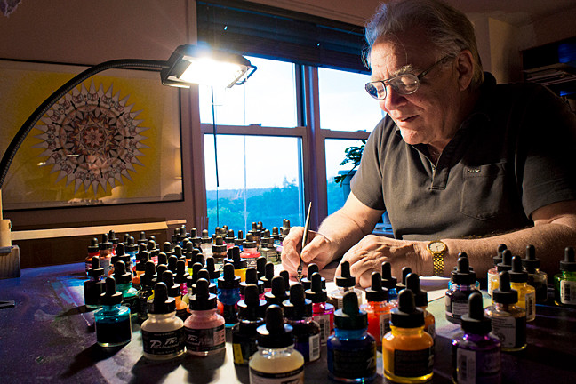 Artist Hal Kat z in his home studio, photographed by Berthland Tekyi-Berto.
