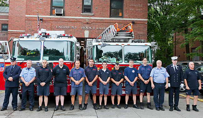 Firefighters from Engines 52 and 62 as well as Ladder 37 at a 9/11 ceremony at the firehouse on the Henry Hudson Parkway.