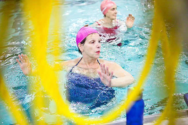 Dianne Sposito, 62, above, is one of a growing number of participants in The Riverdale Y's aqua Zumba exercise class.