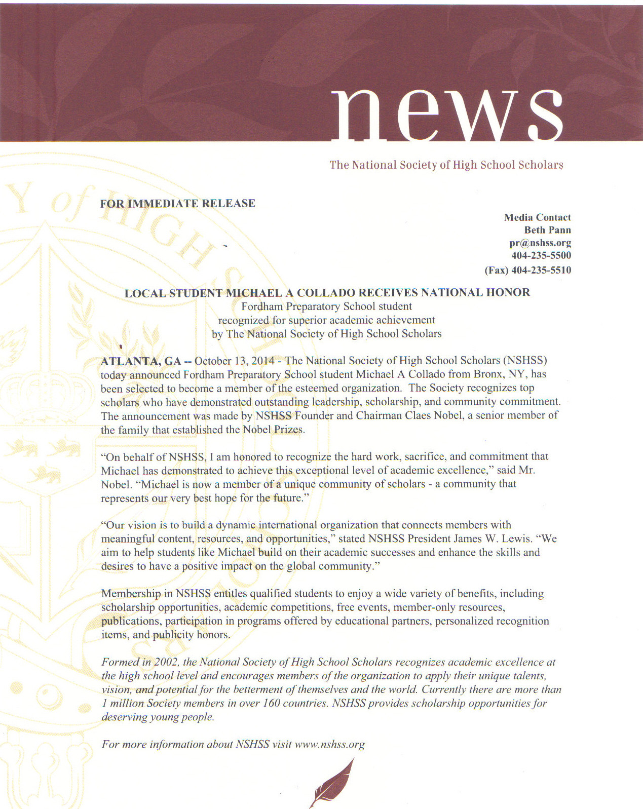 National Society of High School Scholars press release