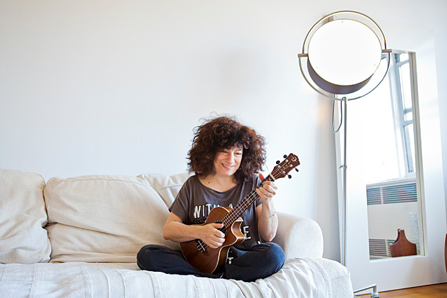 Singer/songwriter Tanya Leah with her ukulele at her Riverdale home on Oct. 17.