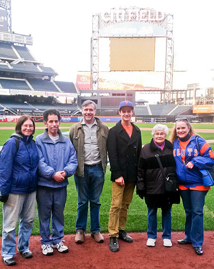 Members of the Riverdale Mental Health Association's staff and their families — Mets fans all — from left, Nancy Kalish, Philip Kalish, Robert Brewster, James Schapiro, Ada Archilla and Migdalia Archilla, cured the blues with a field trip for a behind-the-scenes tour of Citi Field.
