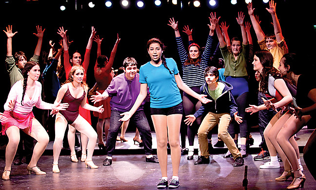 Yanniv Frank takes center stage with Hannah Backer, Jenna Solomon and Elijah Levi-Dabby to the audience's left in The Riverdale Rising Stars' 'A Chorus Line' on Sunday.