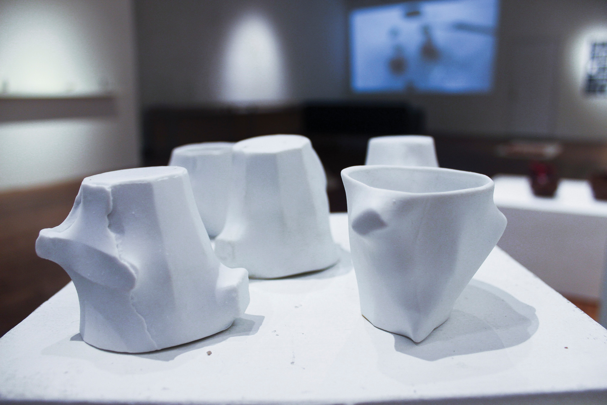 """Gest"" coffee cups on display at the Bronx River Art Center's ""The Food Design Show."""