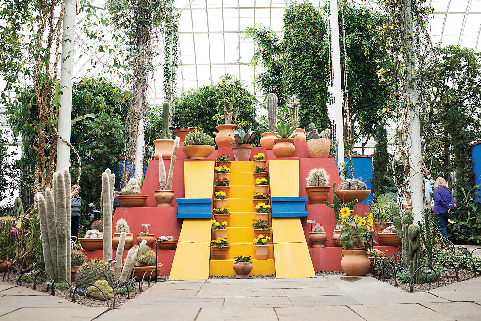 A large pyramid for plants and artwork to sit, similar to what Frida Kahlo had in her Mexico City home, 'Casa Azul.'