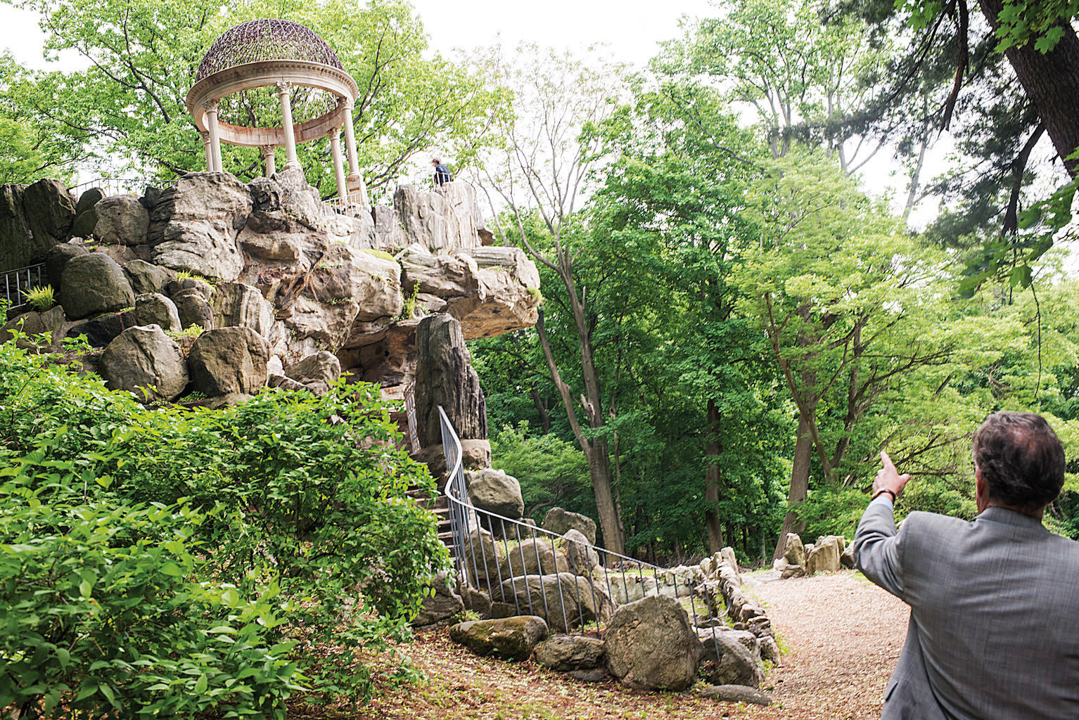 Volunteer chairman of the Untermyer Gardens Conservancy Stephen Byrns gives a tour of the 'Temple of Love,' which the conservancy hopes to restore over the next one or two years.