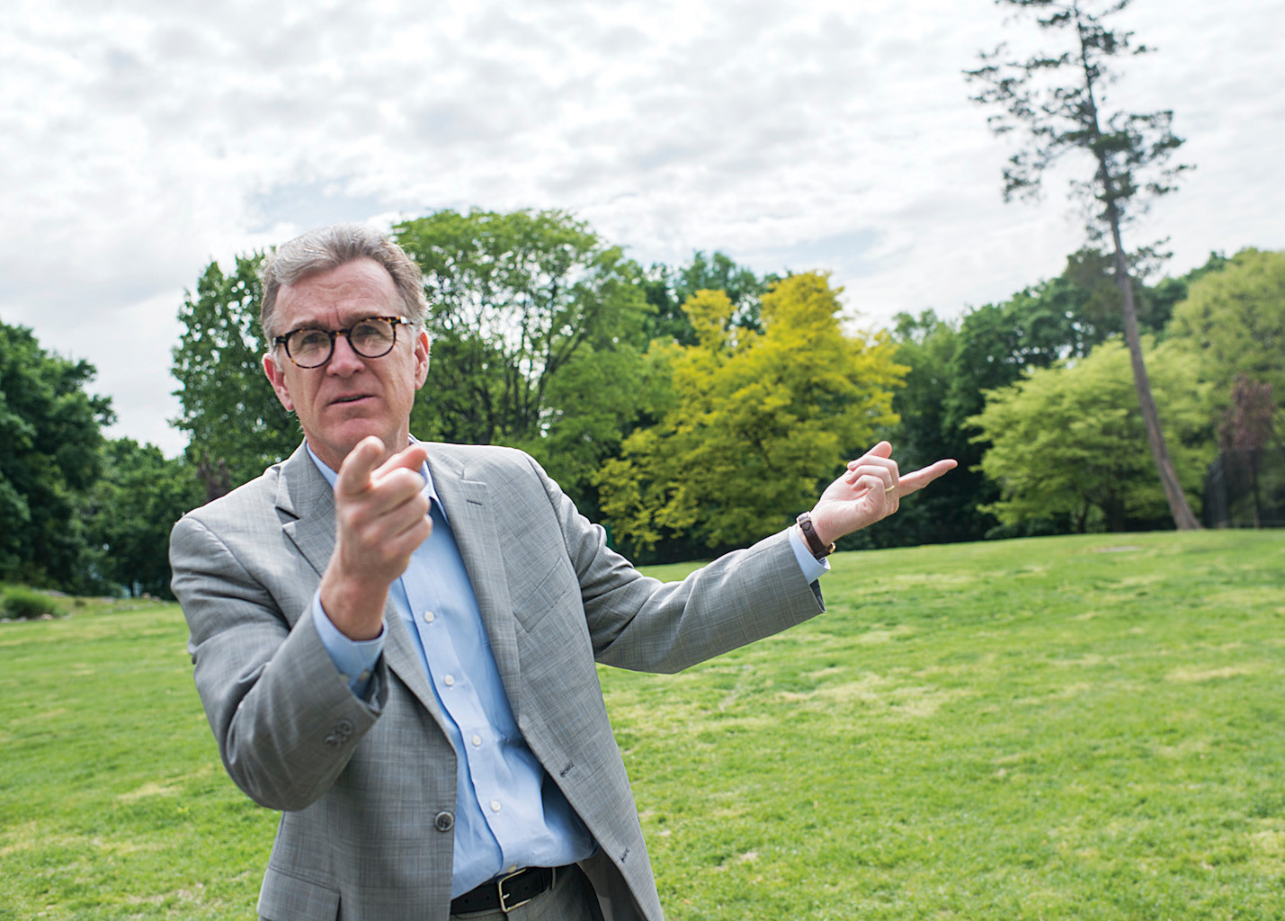 Volunter chairman of the Untermyer Gardens Conservancy, Stephen Byrns, gives a tour of the Walled Gardens.