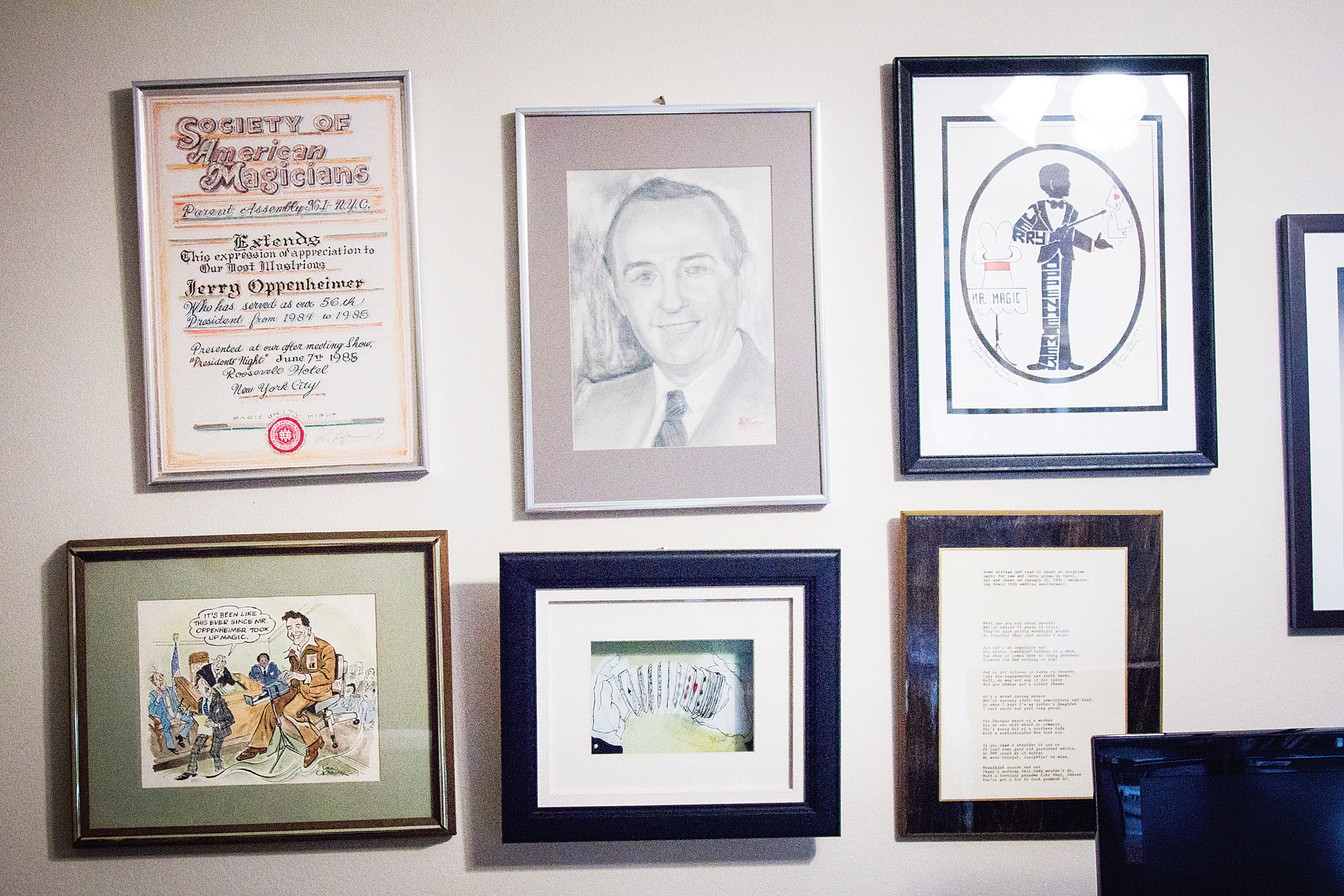 Pictures and text in the home of Jerry Oppenheimer, 93, on June 19.