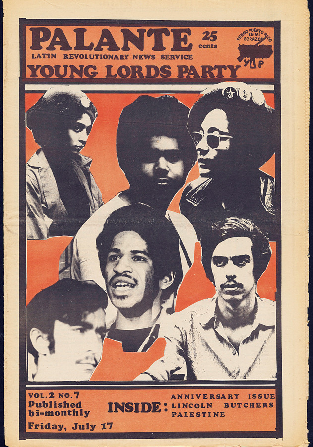 The Young lords Organization, Cover of Palante newspaper (Volume 2, Number 7, July 17, 1970). Newsprint, Tamiment Library & Rbert F Wagner Labor Archives, New York University.