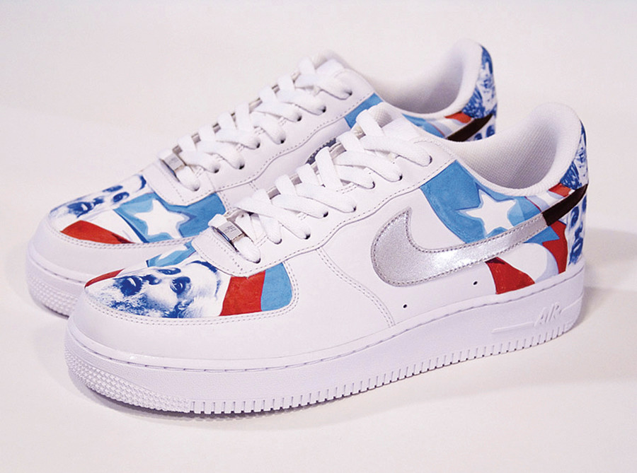 "Miguel Luciano, ""Machetero Air Force One's (Filiberto Ojeda Uptowns),"" Vinyl and acrylic on sneakers, 2007."
