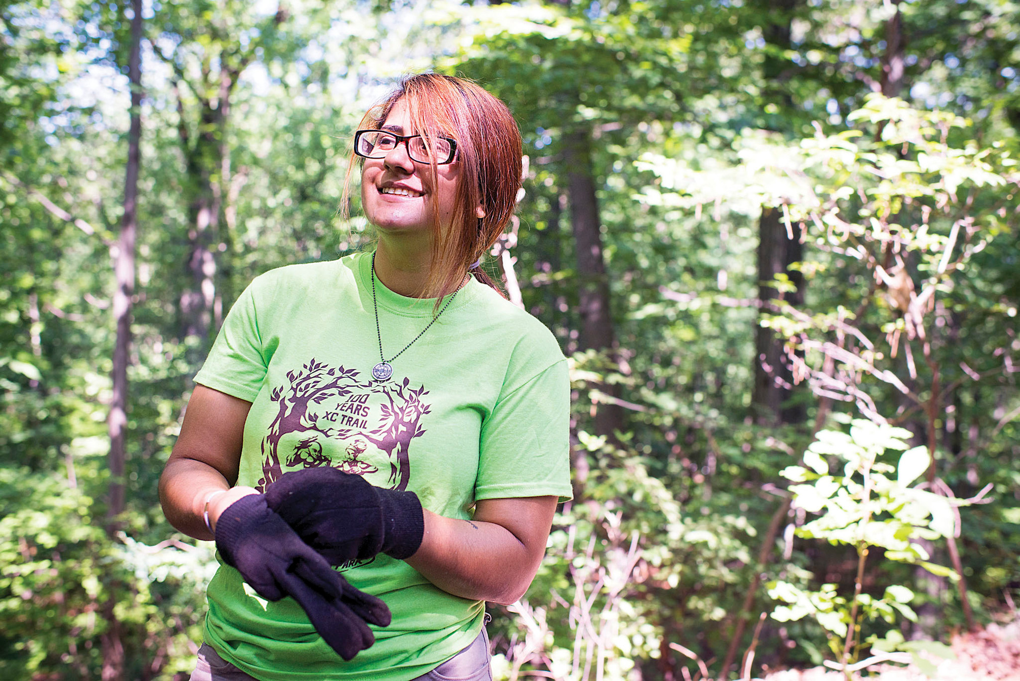 Stacy Granda, 20, a Lehman College student who worked to clear overgrown trails of weeds and mud in Van Cortlandt Park on July 16.