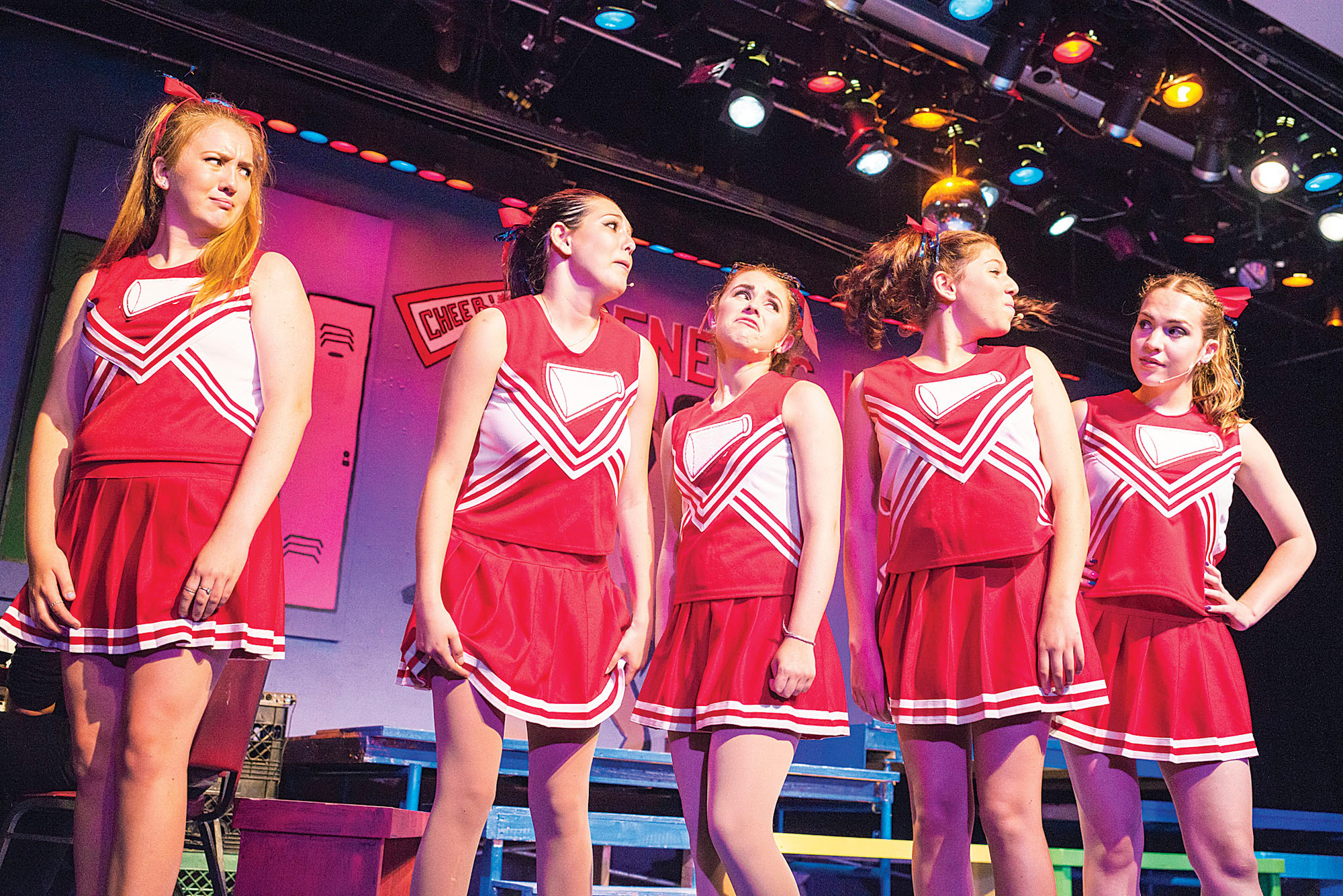"The high school cheerleading squad, led by Jessica Lavery, age 21, right, in ""Can You Dig It? A 70s Love Story,"" by the Riverdale Rising Stars."