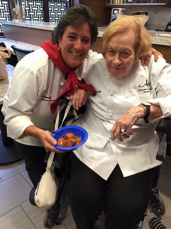 Atria Riverdale's Culinary Specialist with resident Doris and her sweet and sour meatballs