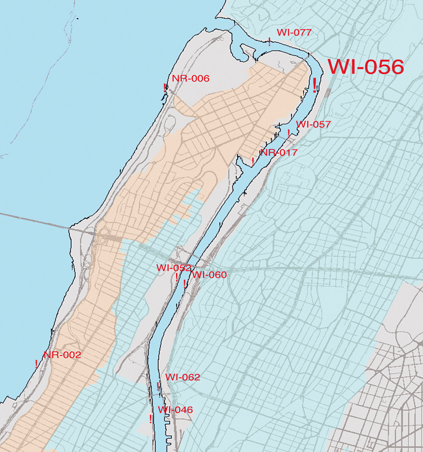 A map showing the location of a Tier 1 Combined Sewage Overflow site, WI-056, near the Broadway Bridge over the Harlem River Ship Canal. There are more CSO locations in the Harlem River than in any New York City waterway.