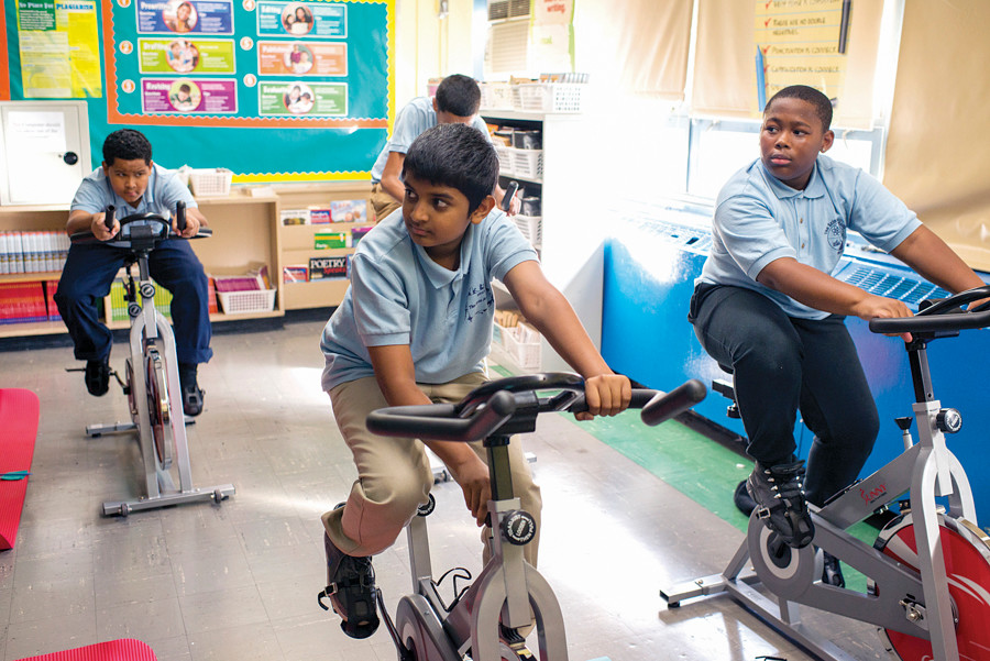 Students at NSLA/M.S. 244 attend a fitness class during an after school program on Sept. 25.