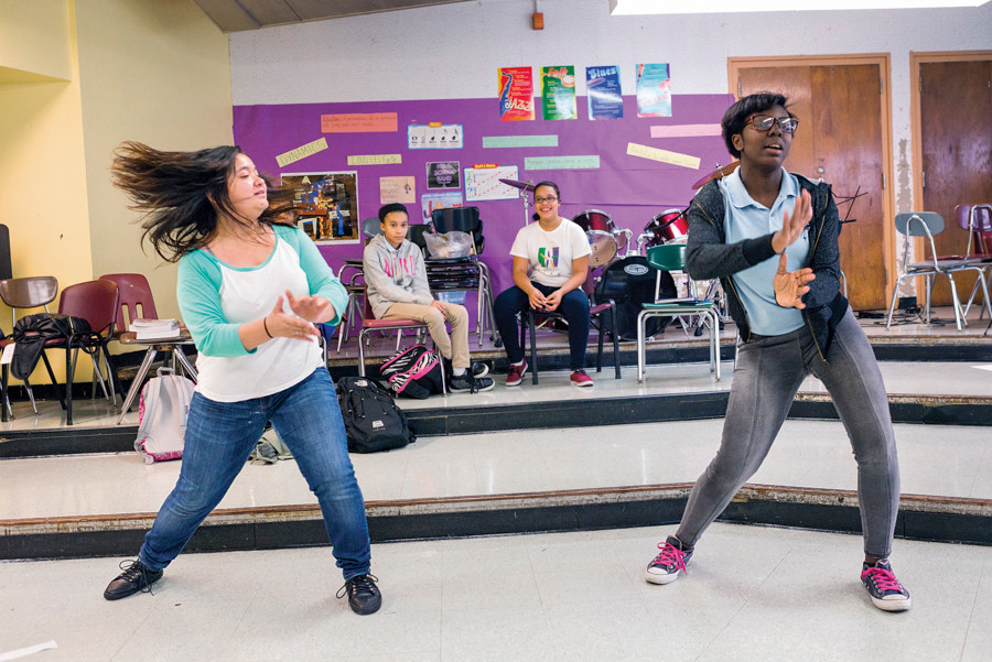 NSLA/M.S. 244 students Kadijah Belcher and Meana Torigoe, both in the 8th grade, attend an after school African dance program on Sept. 25.