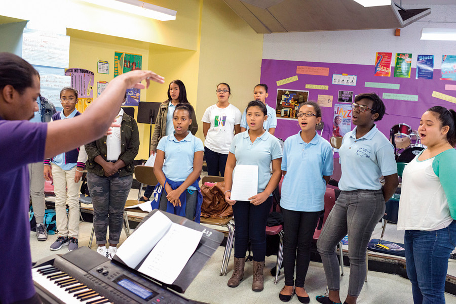 Students at NSLA/M.S. 244 attend a choir program after school on Sept. 25.