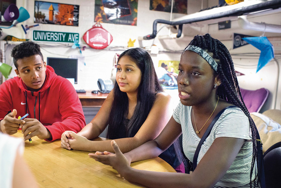 Kingsbridge Heights Community Center students Korbin Vanezuela, Vanessa Nuñez, and Diamond Brown talk about their final year of high school and applying to colleges during an interview on Sept. 25.