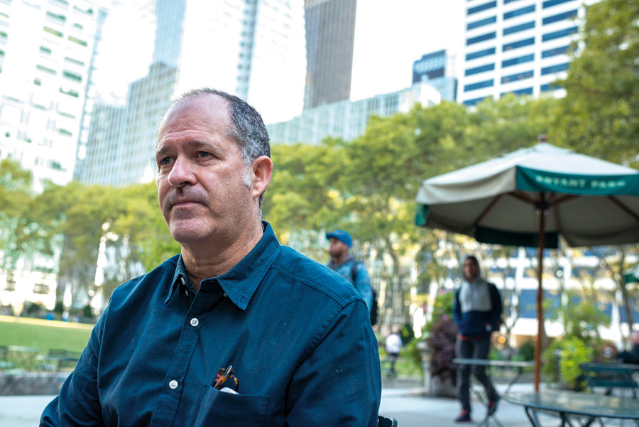 Author Amos Kamil, who has a new book out on the Horace Mann sexual abuse scandal, during an interview in Bryant Park on Oct. 8.