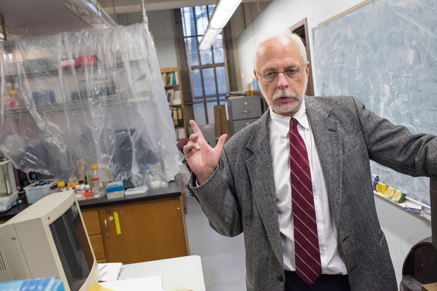 Professor Manfred Philipp from the Lehman College chemistry department speaks to reporters on Oct. 5 about the faculty protest movement for a new union contract.