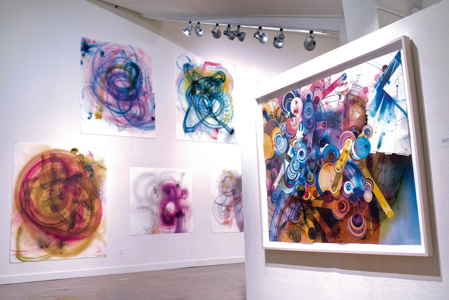 Artwork made using smoke bombs by Rosemarie Fiore, a Bronx artist, in the Lehman College Art Gallery on Nov. 5.