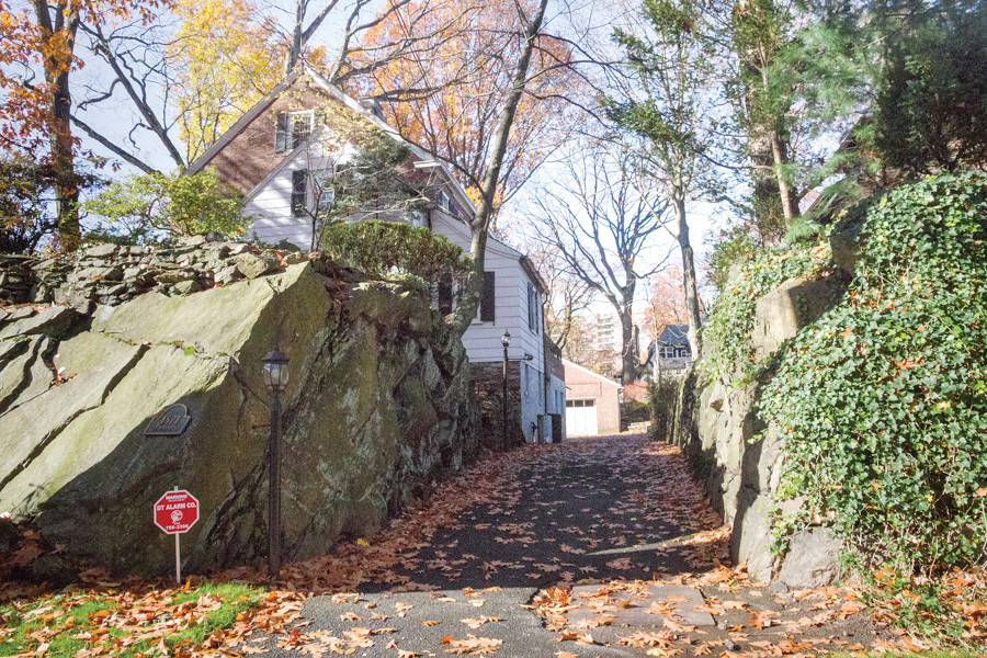 A driveway hewn from the rock along Fieldston road on Nov. 20.