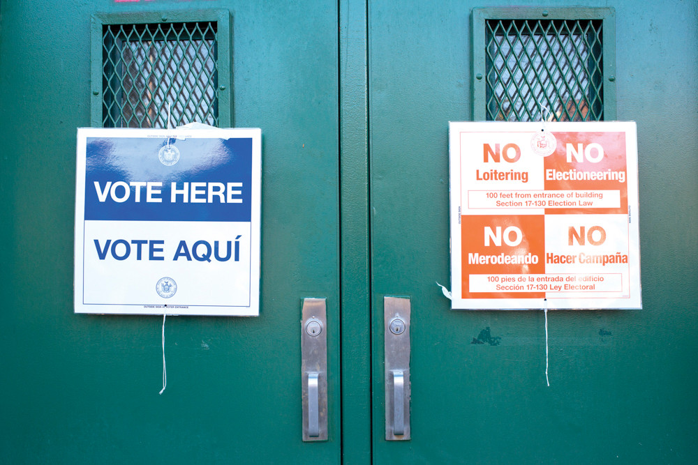 A polling station open for election day at the Robert J. Christen School (P.S.81) in Riverdale on Nov. 3.