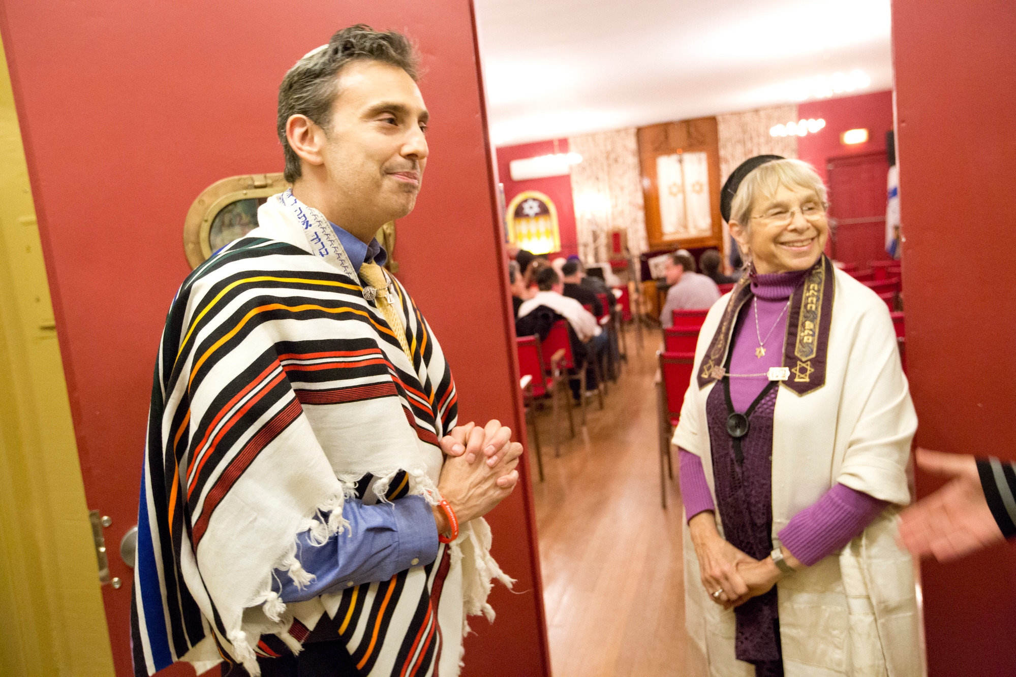 Rabbis David Markus and Shohama Wiener at Temple Beth-El of City Island on Jan. 15.