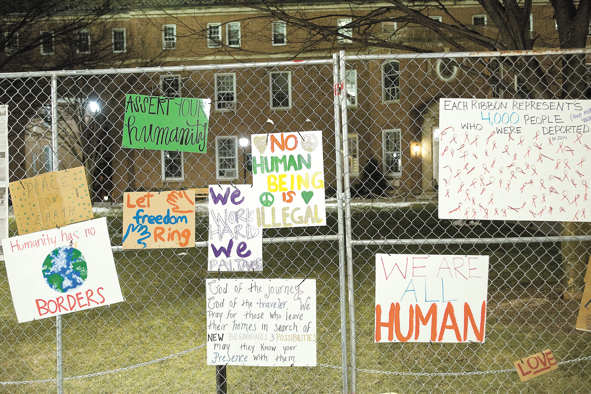 Students erected a mock border on Manhattan College's quad to draw attention to the pope's visit to border areas in Mexico.