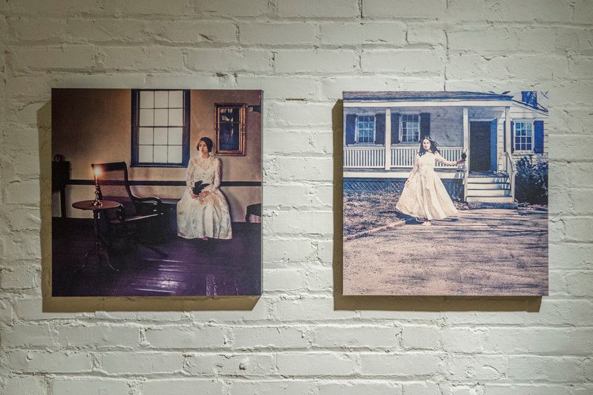 Sandra Ayala's 'Awaiting His Return' and 'Radiant Maiden' in 'The Bronx Speaks: Our Home' at BronxArtSpace.