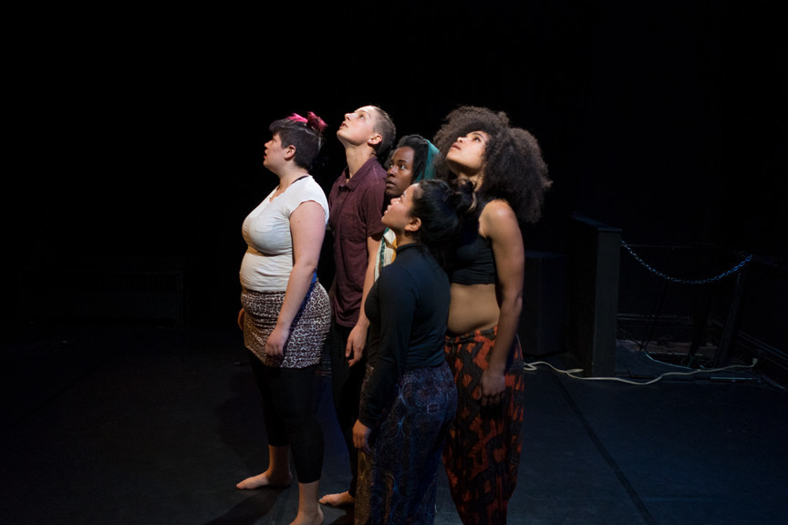 Clockwise from left: Ms. Alabaster, Alicia Raquel, Nehemoyia Young, Ms. Traber and Carissa Matsushima during  rehersal for an upcoming performance at BADD!