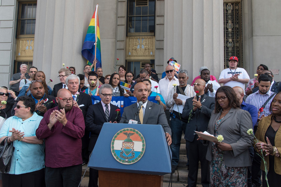 Bronx Borough President Ruben Diaz, Jr. speaks at a vigil at Bronx County Courthouse on June 15.