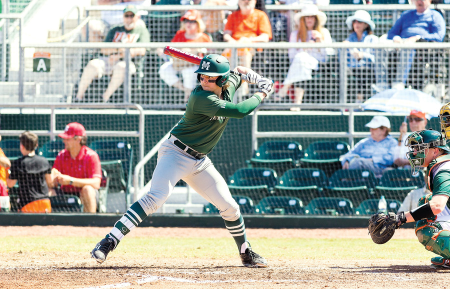 Manhattan College's Christian Santisteban in a 4-7 loss to the University of Miami on March 6, 2016.