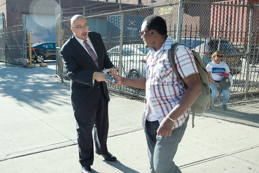State Sen. Gustavo Rivera campaigned outside the Kingsbridge Heights School (P.S. 86), before casting his vote. But few other voters showed up during this week's key races.