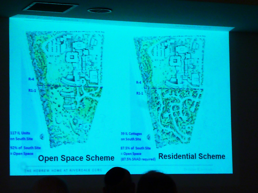 The 'open space' plan envisages two new buildings on the Hebrew Home's southern campus. The 'residential' plan would see 39 cottages scattered all over the southern campus.