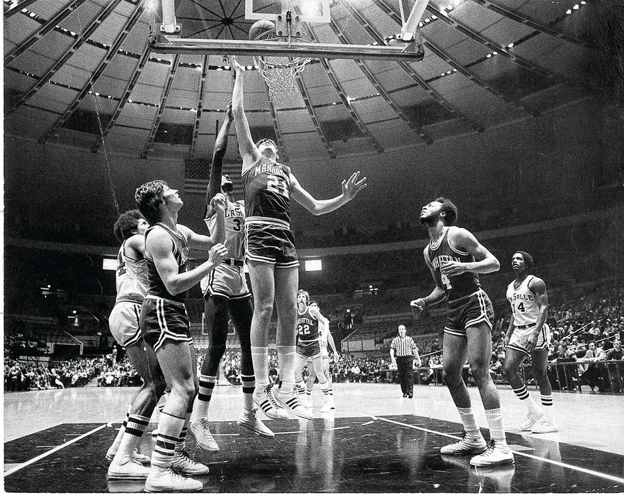 Bill Campion goes for a layup against La Salle University at Madison Square Garden.