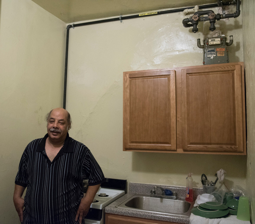 David 'Dee' Delgado / 10.17.16 George Camacho recently moved in just four moths ago. Mr. Camacho has no gas meter or a working stove since he moved in, an exposed gas line has been connected to his stove and he is waiting for an inspector from Con Edison to appove the new meter.