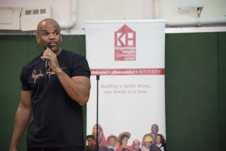 Darryl McDaniels also known as DMC one third of the ground-breaking rap group Run-DMC visited the Kingsbridge Heights Community Center to talk about life lessons and offer encouragement to children.