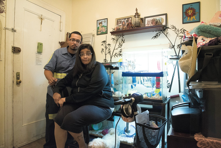 Susa and Daniel Barraza have had to make their own repairs to their apartment.