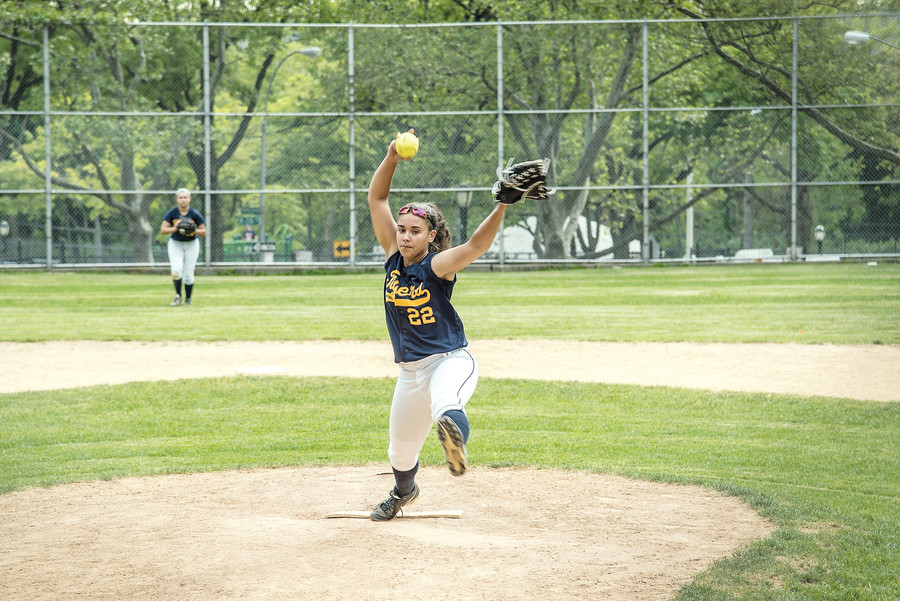 Pitcher Samantha Torres, the driving force for the David A. Stein Riverdale/Kingsbridge Academy, during a 19-2 win over Health Opportunities High School on May 23.