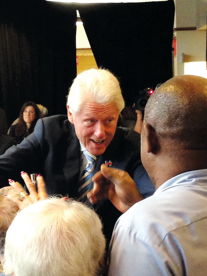 Former President Bill Clinton speaks with residents and staff at the Hebrew Home in Riverdale after delivering a speech on April 11 to support Hillary Clinton's bid for presidency. He came to Riverdale again on April 15 to speak at the College of Mount Saint Vincent.