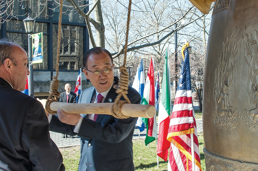 UN Secretary-General Ban Ki-moon rings the Peace Bell at Lehman College before speaking to speaking to students in March.