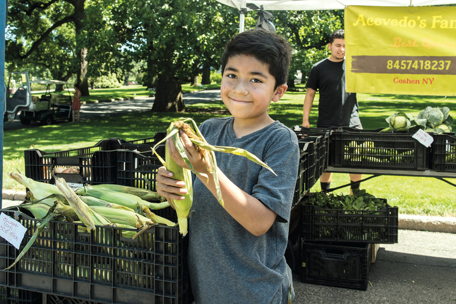 Jaden Acevedo peels corn at a farmers market at the New York Botanical Garden.