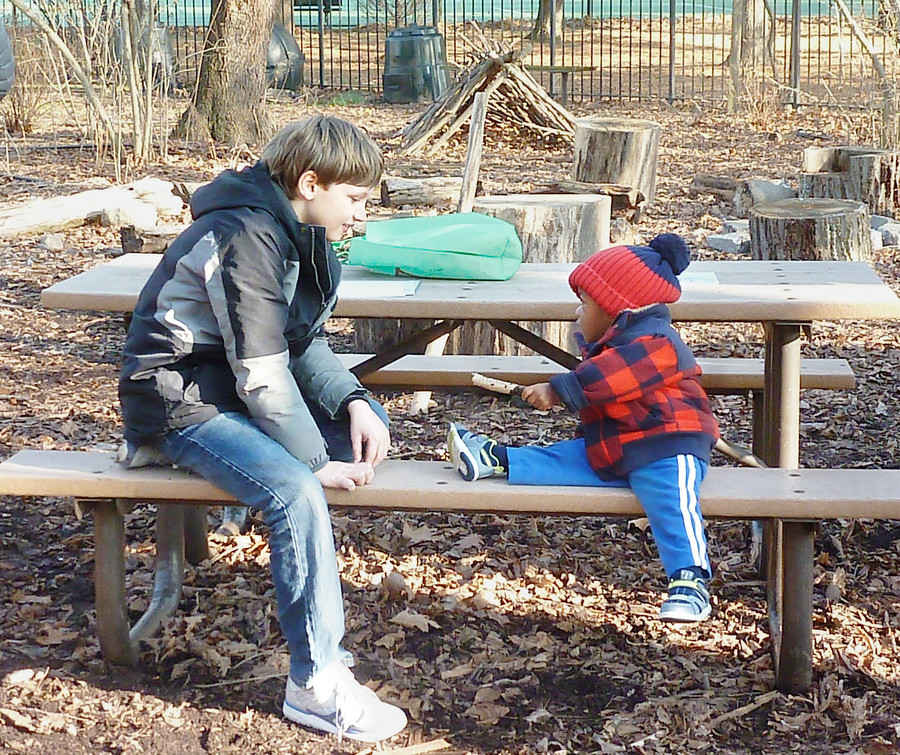 Children bond with nature and each other during the Jan. 21 event at Van Cortlandt Park, 'Pioneering skills: Building with ropes and wood.'