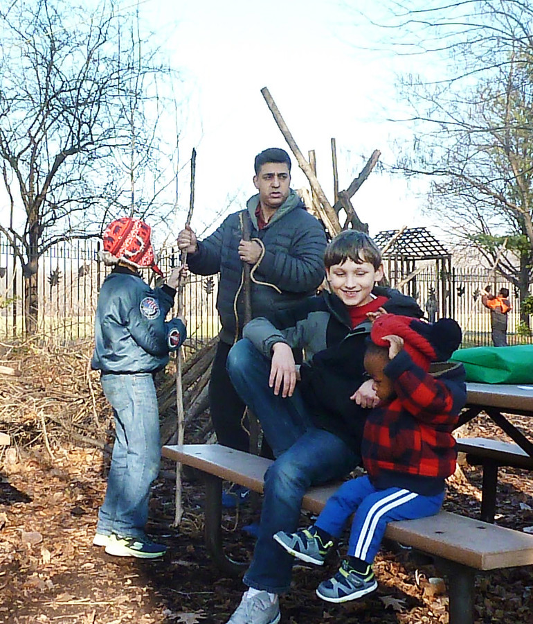 Avi and Sameer Caul, along with Jack Noma, 10, and a tenacious toddler await further instructions from a ranger.