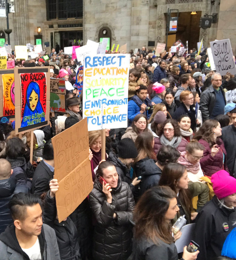 An estimated 400,000 people gathered for a protest in New York, above, on Jan. 21, in addition to another 470,000 people, according to crowd counting experts, who took part in the Women's March in Washington.