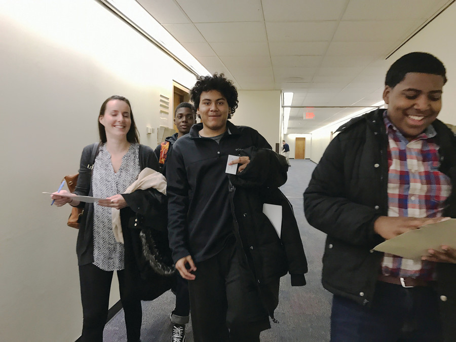 From left, Alyssa Lenihan, Jarelle Prado and Andy Jimenez on their way to meet with state lawmakers in Albany on Jan. 25.