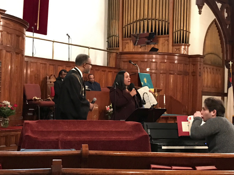 Assemblywoman Carmen de la Rosa presented St. Stephen's Church with a proclamation for its 192nd anniversary.