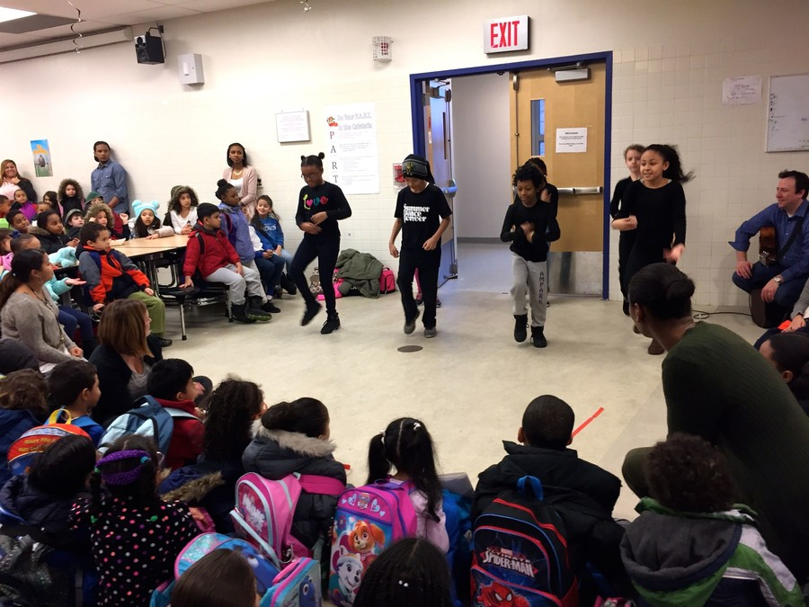 Students at AmPark performed an African dance during AmPark's celebration of Black History Month. The dancers are part of AmPark's afterschool program, where they work with members of the Alvin Ailey Dance Theater.